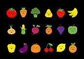 Fruit berry vegetable face icon set. Strawberry, pear, banana, pineapple, grape, apple, cherry, lemon, orange. Pepper, tomato, carrot, broccoli, onion, sweet corn, beet, eggplant aubergine pumpkin