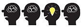 Human face icon set. Black silhouette. Idea light bulb Scribble ravel line in head inside brain. Mental health. Psychotherapy. Thinking process. Switch on lamp shining. Flat design. White background.