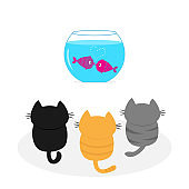 Three kittens looking to aquarium with fish set. Little cat family. Pet animal collection. Cute cartoon funny character. Flat design. White background Isolated