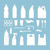 Set of white plastic objects on blue background. Silhouette of plastic garbage. Bottle, bag, straw, spoon, fork. Plastic pollution.