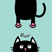 Black cat looking up. Funny face head silhouette. Meow text. Hanging fat body paw print, tail. Kawaii animal. Baby card. Cute cartoon character. Pet collection. Flat design. Blue background. Isolated.