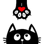 Black cat looking up to paw print with red heart. I love cats text. Cute cartoon funny character. Kawaii animal. Love Greeting card. Flat design style White background Isolated