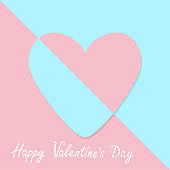 Happy Valentines day sign symbol. Pink paper heart icon. Pastel color. Cute abstract graphic geometric shape. Flat design style. Love greeting card. Isolated. Blue background