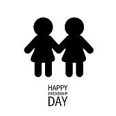 Happy Friendship Day. Girls holding hands icon. Friends forever. Two black woman female silhouette sign symbol. LGBT Isolated. White background Flat design.