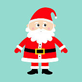 Santa Claus standing. Happy New Year. Merry Christmas. White moustaches, beard. Red hat. Cute cartoon funny kawaii baby character. Greeting card. Flat design. Blue background.