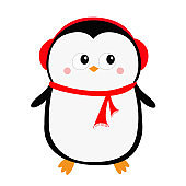 Happy New Year. Penguin icon. Red headphones hat. Merry Christmas. Cute cartoon kawaii baby character. Arctic animal. Flat design. Hello winter. Isolated. White background.