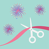Scissors cut the ribbon. Grand opening celebration. Business beginnings event. Launch startup. Blue background with fireworks. Flat design style.