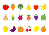 Fruit berry vegetable icon set. Pear, strawberry, banana, pineapple, grape, apple, cherry, lemon, orange. Pepper, tomato, carrot, broccoli, onion, sweet corn, beet, eggplant aubergine pumpkin Isolated