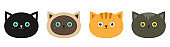 Cat head set line. Siamese, red, black, orange, gray color cats in flat design style. Cute cartoon character. Different eyes. White background. Isolated.
