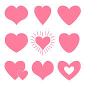 Pink heart icon set. Happy Valentines day shining sign symbol simple template. Cute graphic object. Flat design style. Love greeting card. Isolated. White background.