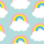 Cloud Colorful Rainbow. Seamless Pattern. Cute cartoon kawaii funny baby kids decor. Wrapping paper, textile template. Nursery decoration. Blue background. Flat design.