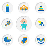 Baby boy shower card with bottle, horse, rattle, pacifier, sock, car toy, baby carriage, pyramid. Its a boy. Round icon set. Isolated White bacground. Flat design.