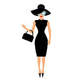Woman in black elegant hat, bag and sunglasses waving. Rich and beautiful celebrity girl. Beauty fashion model face red lips. People collection Cute cartoon character Flat White background