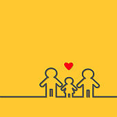 Two fathers and baby girl daughter. Gay marriage Pride symbol Contour line man sign LGBT icon  Male gender symbol. Happy family concept.  Red heart. Yellow background. Flat design