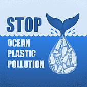 Stop ocean plastic pollution. Ecological poster with text. Tail of whale and bag with plastic bottle and garbage on blue background. Plastic problem.