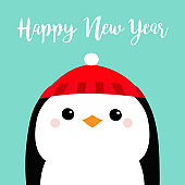 Happy New Year. Penguin head face. Red hat. Merry Christmas. Cute cartoon kawaii baby character. Arctic animal. Flat design. Hello winter. Blue background.