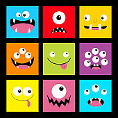 Monster head set. Square head. Boo Spooky Screaming smiling sad face emotion. Three eyes, tongue, teeth fang, mouse.Happy Halloween card. Flat design style. Black background.