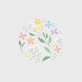 Vector Set of hand drawn plants, leaves and flowers for design card