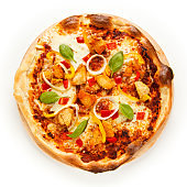 Pizza with chicken meat on white background