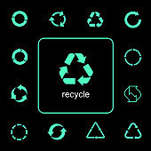 Various recycling icons, rotation arrows