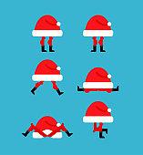 Santa Hat set. Christmas red cap. Xmas and New Year vector illustration