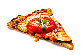 Slice of margharita pizza with ham and pepper on white background