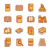 Set of books or reading color outline icons. Vector illustration.