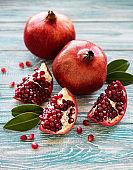 Ripe pomegranate fruits