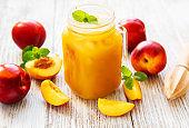 Nectarine juice with fresh fruits
