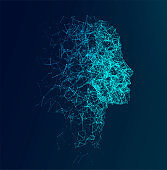 Artificial Intelligence concept.  Creative brain concept background. Vector science illustration.