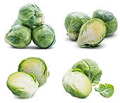 Collection of cabbages isolated on white background
