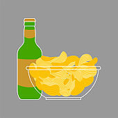 Beer bottle and Potato chips in bowl isolated. Snack food fried vector