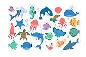 Ocean and sea animal set