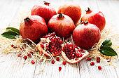Juicy and ripe pomegranates