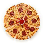 Pepperoni pizza on white background