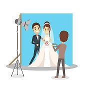 Wedding couple in the photostudio making photoshoot
