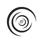 Rounded lines of ripples of liquid logo diverge to the sides concentric shape monochrome design element
