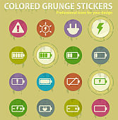 Battery charge colored grunge icons