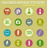 Graphic editor tools colored grunge icons
