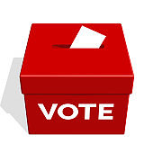 Election Voting Box Colored Red