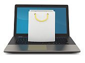 Shopping bag with laptop