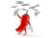 Hot paprika character catching money