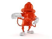 Hydrant character pointing finger