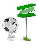 Soccer ball character with blank signpost