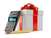 Gift box with calculator and pencil