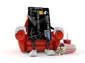 Credit card character sitting in the cinema