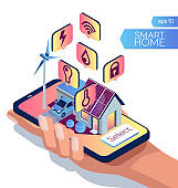 IOT concept. Smart home isometric style. Eco friendly smart house. Smart phone in human hand on a white background
