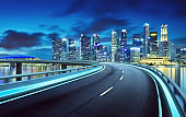 Highway overpass modern Singapore city skylin