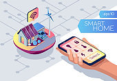 Smart home connection and control. IOT concept. Internet of things isometric style. Eco friendly house. Smart phone in human hand on a white background