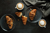 Breakfast served with croissants and coffee